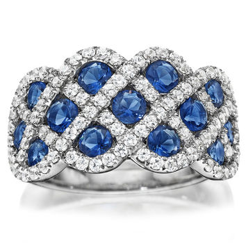 "Ben Garelick Wide ""Criss Cross"" Blue Sapphire & Diamond Right Hand Ring"