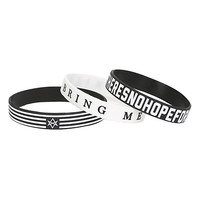 Bring Me The Horizon Black And White Rubber Bracelet 3 Pack