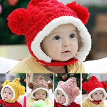 Baby Toddler Boy Girl Kids Winter hat Beanie Ear protectors Cap 4 Colors Hot New D_L [8361352455]