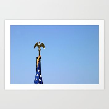 USA Flag Top Art Print by Henrik Lehnerer