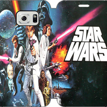 Star Wars Wallet Case w/ Stand Flip Cover for Samsung Galaxy S6