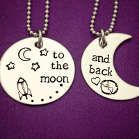 To the moon... and back - Hand Stamped Stainless Steel Necklace Set - Gift for Couples, Best Friends, Parent and Child