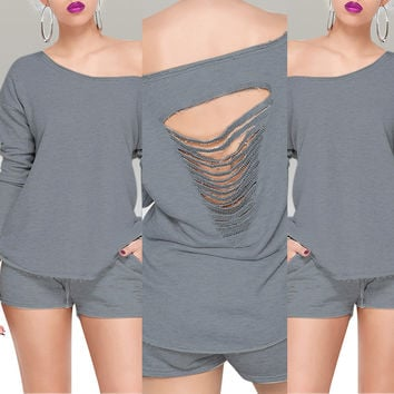 Grey Off Shoulder Cutout Fringe Frayed Short Set