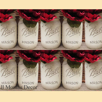Set of 10 Painted Mason Jars, Pint or Quart, Cream White, Distressed Home Wedding Bridal Vase, Baby Shower Decor, Rustic Shabby Chic Gift