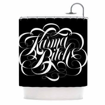 "Roberlan ""Karma Beesh "" black white Shower Curtain"