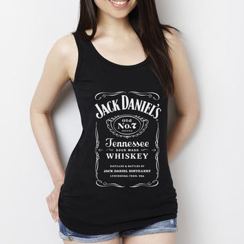 Lady Cute Jack daniels Women Tank Top, Tshirt, Black White Tank Top