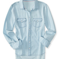 Aeropostale  Long Sleeve Chambray Woven Shirt