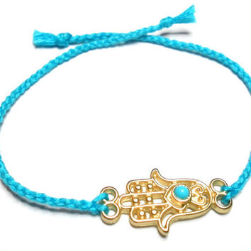 Gold plated Hamsa hand of fatima braided Friendship Bracelets - turquoise soft cotton string lucky evil eye valentine's day gift