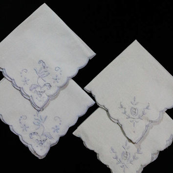Four White Mismatched Napkins, Blue Embroidery, White Linen Cloth, Crafts Cutter, 1940s 1950s, Vintage Linens