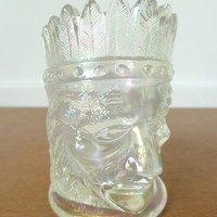 Vintage Joe St. Clair clear opalescent indian head toothpick holder, collectible carnival glass