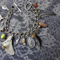 Real Otter Jaw Piece Porcupine Claw Recycled Jewelry Charm Bracelet