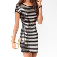 Sequined Stripes Bodycon Dress