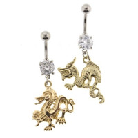 Stainless Steel Clear Glass Belly Rings with Chinese Dragons - 14G - 3/8