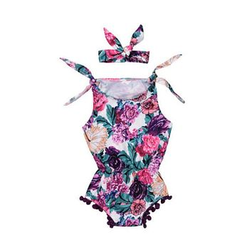 Newborn Infant Baby Girl Cotton Floral Romper Jumpsuit Style Halloween Gift Headband Clothes Outfit
