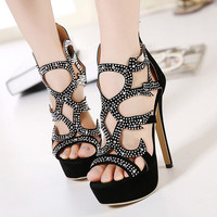 White Rhinestone Sexy Party Shoes