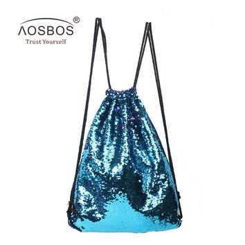 Aosbos 2018 Mermaid Drawstring Backpack Foldable Sports Gym Bag Outdoor Women Men Training Fitness Bags Drawstring Bag for Shoes