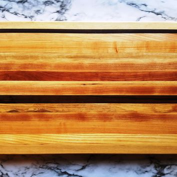 Large Multi-Color Rectangle Wood Cutting Board, Random Layout, Walnut, Cherry & Maple Wood