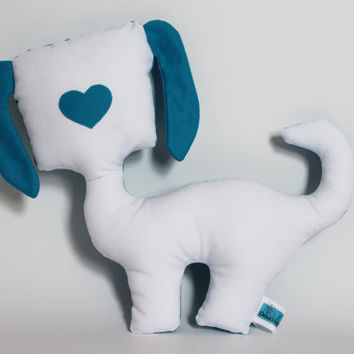 Dog decorative pillow, Puppy Plush, Cute Softie, Blue & White, Nursery decor, Baby shower gift, Baby toy, Children birthday, Heart nose