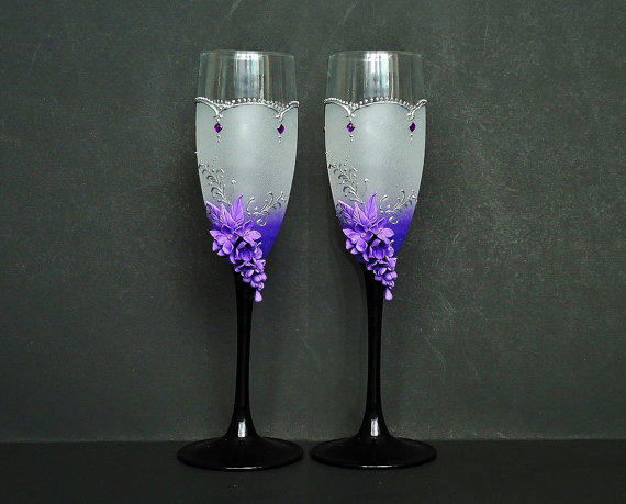 Lilac Wedding Champagne Glasses Toasting From JoliefleurDeco On