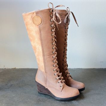 lace-up front wedge boots - khaki