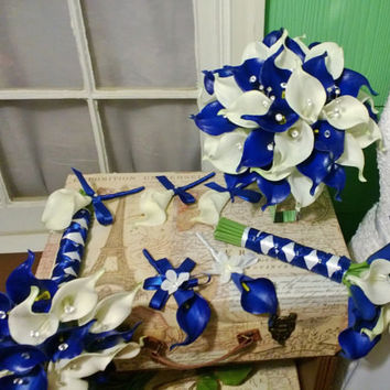 Royal Blue White Calla Lily Bridal Bouquet Wedding Flower 17 Piece Set, Royal Blue White Bouquet, Calla Lily Bouquet Blue