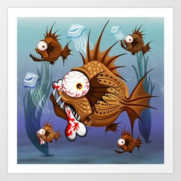 Psycho Fish Piranha with Bone Art Print by BluedarkArt