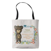Teddy Bear with Floral Designs Baby Birth Tote Bag