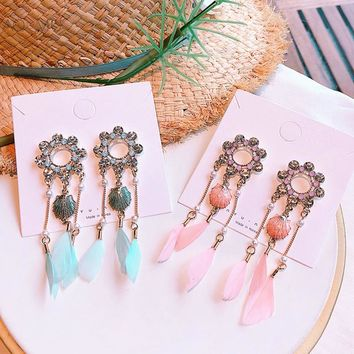 AOMU Handmade 2018 Boho Feather Ocean Seashells Pearl Crystal Wreath Long Tassel Dreamcatcher Dangle Drop Earrings For Women