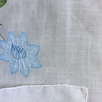 Vintage Handkerchief - Blue Flower Linen Hankie - Hanky with blue flowers - Floral
