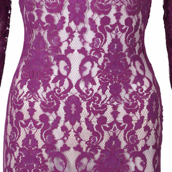 Purple Long Sleeve Semi-sheer Asymmetric Hem Lace Dress