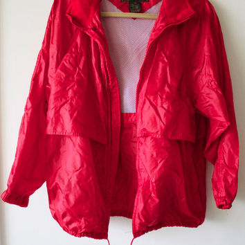 Vintage Men's Small Eddie Bauer Red Rain Jacket
