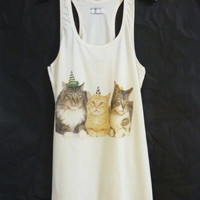 Cat family tank top dress/ off white shirt/ sleeveless top/ organic clothing/ women t shirt/ teen girls outfit size M
