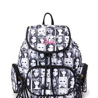 FOREVER 21 Barbie Tile Backpack Black/White One