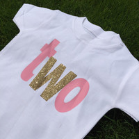 Gorgeous childs birthday tshirt or babygrow with birthday number in glitter - variety of colours available