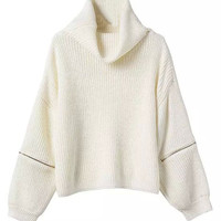 White High Roll Neck Zipper Detail Long Sleeve Knitted Sweater