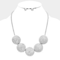 Silver Chunky Rhinestone Ball Bib Statment Necklace