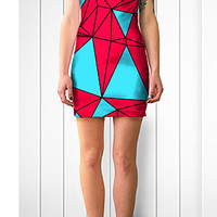 Bodycon Dress, Turquoise and Red Geo Print