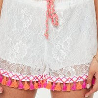 Missguided - White Lace Multi Trim Shorts