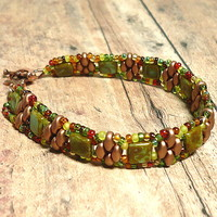 Green Turquoise Picasso Tile Copper Superduo Beaded Handmade Bracelet