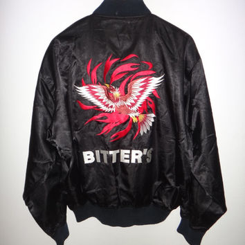 30% New Year Sale Vintage Suntory Bitter's Phoenix Hawk Eagle Quick Embroidery Bird  Sukajan Satin Jacket Vintage Japan Souvenirs Black All