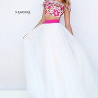 Sherri Hill 50325 Ivory Pink Two Piece Ball Gown