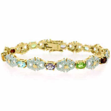 18K Gold over Sterling Silver Multi Colored Gemstone & Diamond Accent Filigree Bow Bracelet