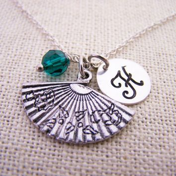 Chinese Fan - Fan Necklace - Personalized Necklace - Initial Necklace - Swarovski Birthstone - Sterling Silver / Gift for Her
