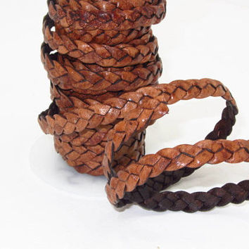 "Flat leather braided cord....5 yards of antique brown color   3/8"" wide (10mm) .   e576"