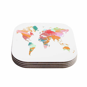 "Chelsea Victoria ""Wild World"" Travel Painting Coasters (Set of 4)"