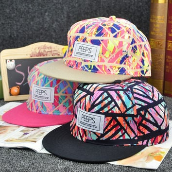 Women Fashion Colorful Striped Printed Cotton Snapback Hiphop Baseball Cap Hat