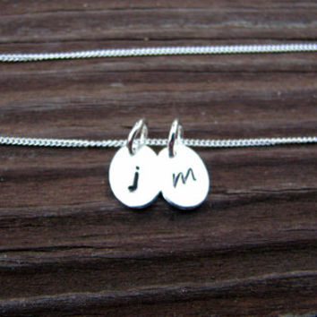Two Tiny Oval Initial Charms Necklace- Personalized Necklace- Monogram Tags- His and Hers- Couples Necklace- Mommy Necklace- Sterling- Mini
