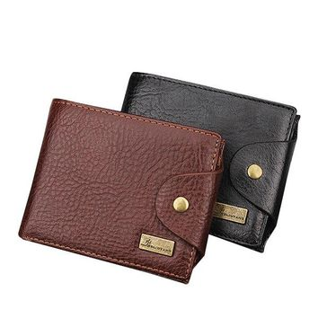 PU Leather Bifold Wallet 3 Card Slots Casual Vintage Coin Bag Card Pack Purse For Men