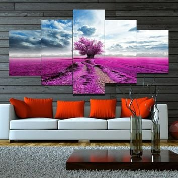 5 Panel Canvas Wall Art Purple Tree Canvas Painting Large Wall Pictures for Living Room Home Decor Wall Paintings HY146