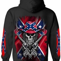 Men's / Unisex Zip-Up Hoodie Rebel Flag Cowboy Skeleton